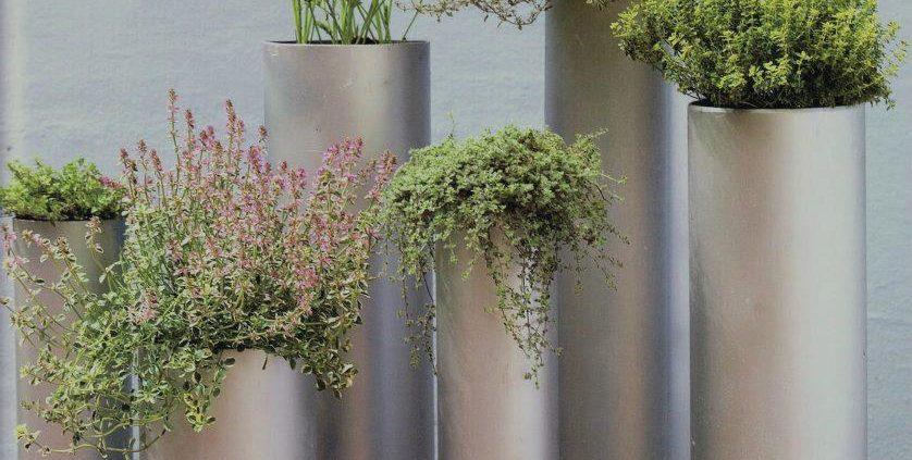 Esempio idi vasi verticali realizzati con tubi in pvc.
