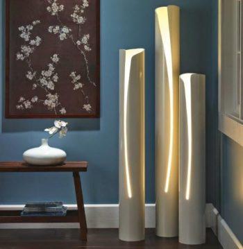 Esempio idi lampada da terra realizzata con tubi in pvc.